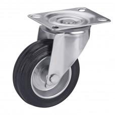 Колесо на черной резине в поворотном кронштейне с площадкой 1021100 РК