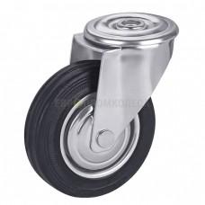Колесо из резины в поворотном кронштейне на площадке с отверстием 1081080 РК