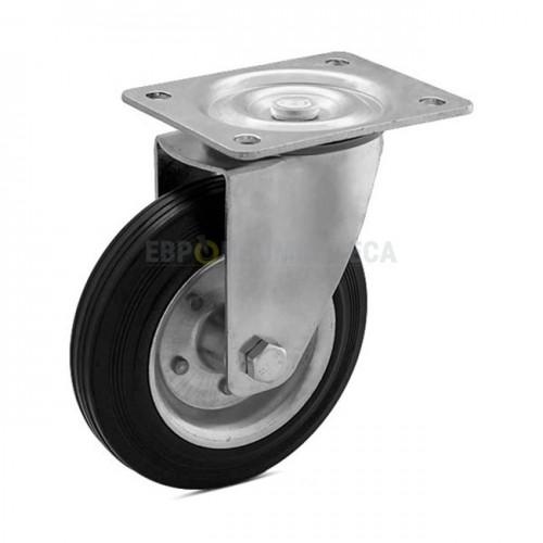 Колесо на черной резине в поворотном кронштейне с площадкой 1020125 РК