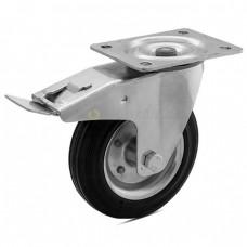 Колесо на черной резине в поворотном кронштейне с площадкой и тормозом 1030125 РE