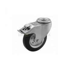 Колесо на черной резине в поворотном кронштейне с отверстием и тормозом 1090080 РE
