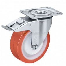 Колесо из полиуретана в поворотном кронштейне с площадкой и тормозом 4330080 ШЕ