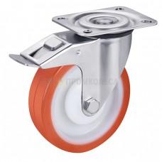 Колесо из полиуретана в поворотном среднеусиленном кронштейне с площадкой и тормозом 4332100 ШМ