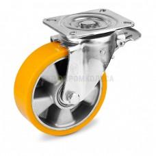 Колесо из полиуретана в поворотном усиленном кронштейне с площадкой и тормозом 5034160 ШЕ