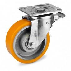 Колесо из полиуретана в поворотном усиленном кронштейне с площадкой и тормозом 5134125 ШЕ