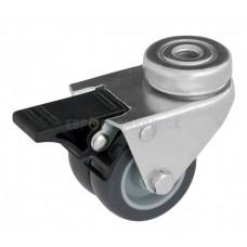 Колесо из полипропилена в поворотном кронштейне с отверстием и тормозом 6092050 СК